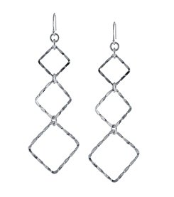 Athra Sterling Silver Textured Kite Drop Earrings