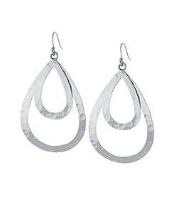 Athra Sterling Silver Hammered Open Teardrop Earrings