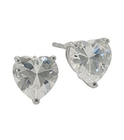 Athra Sterling Silver Cubic Zirconia Heart Shape Stud Earrings