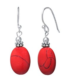 Athra Sterling Silver Red Jasper Oval Drop Earrings
