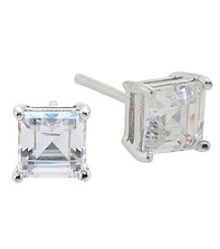 Athra Sterling Silver Cubic Zirconia Asscher Cut Stud Earrings