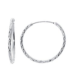 Athra Sterling Silver Diamond Cut Endless Hoops