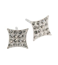 Athra Sterling Silver Crystals Square Studs