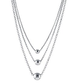 Athra Sterling Silver Beads Layered Necklace