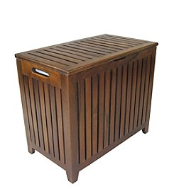 Redmon Genuine Teak Bench Hamper