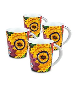 Waechtersbach Konitz Yellow Power Art Set of 4 Mugs