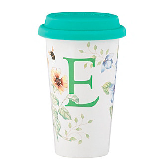 "Lenox® Butterfly Meadow® Initial ""E"" Travel Mug"