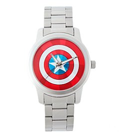 Marvel® Captain America Men's Casual Silvertone Watch