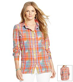 Lauren Jeans Co.® Plus Size Ikat Plaid Boyfriend Shirt