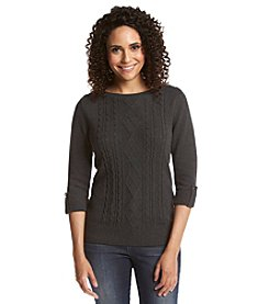 Studio Works® Petites' 3/4 Sleeve Beateau Neck Sweater