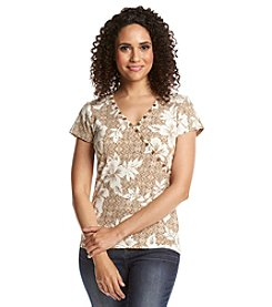 Ruby Rd.® Au Natural Embellished Floral Knit Top