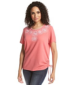 Alfred Dunner® Paradise Island Medallion Side Tie Top