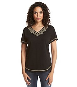 Alfred Dunner® Animal Magnetism Solid Embellished Knit Top