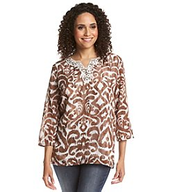 Alfred Dunner® Indian Summer Medallion Lace Neck Top