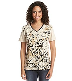 Alfred Dunner® Animal Magnetism Tiger Print Knit Top