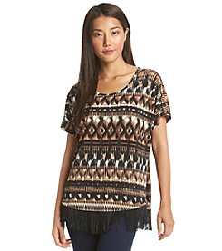 Notations® Abstract Print Fringe Top