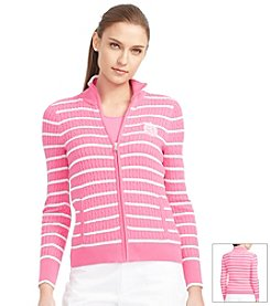 Lauren Active® Full-Zip Striped Sweater