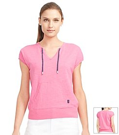 Lauren Active® Short-Sleeved Cotton Sweater