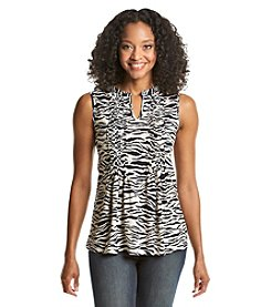 Jones New York Sport® Zebra Pleat Neck Tank