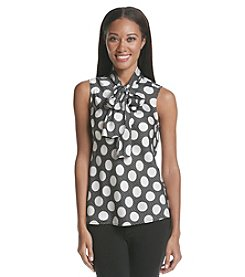 Nine West Printed Bow Blouse