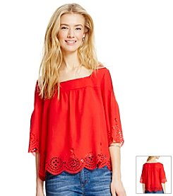 Jessica Simpson Lazer Cut Peasant Top