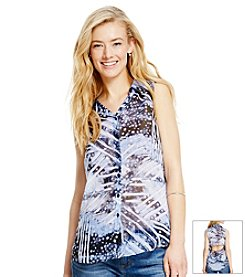 Jessica Simpson Print Collared Top