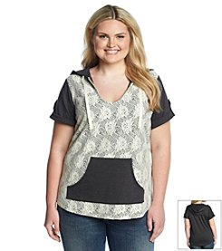 Chance or Fate® Plus Size Crochet Overlay Hoodie