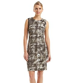 Carmen Marc Valvo Reptile Print Scuba Dress