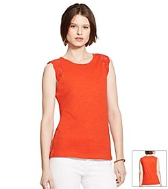 Lauren Ralph Lauren Crocheted-Sleeve Top