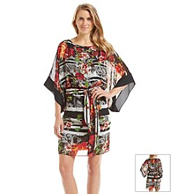AGB® Printed Chiffon Blouson Dress
