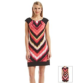 London Times® Printed Jersey Dress