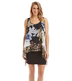 S.L. Fashions Floral Overlay Dress