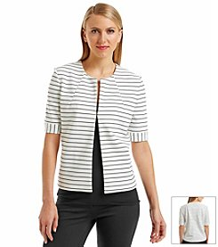 Nine West® Stripe Ponte Flyaway Jacket