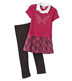Beautees Girls' 4-6X Top With Skirt And Leggings Set