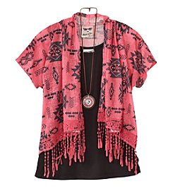 Belle du Jour Girls' Print Cozy With Solid Top And Necklace