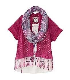 Belle du Jour Girls' Crochet Cozy With Print Top And Scarf