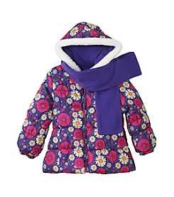 London Fog® Girls' 2T-4T Floral Bubble Jacket