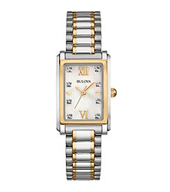 Bulova® Women's Diamond Watch In Two Tone Stainless Steel