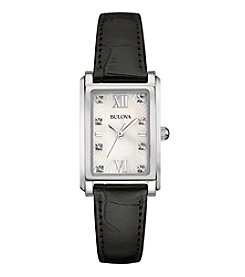 Bulova® Women's Diamond Watch With Leather Strap