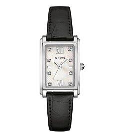 Bulova® Women's Diamond Watch With Leather Strap