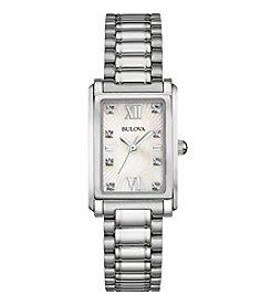 Bulova® Women's Diamond Watch In Stainless Steel