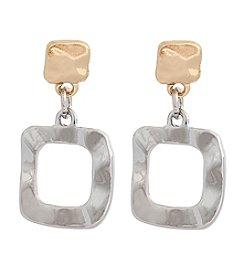 Erica Lyons® Two Tone Trifecta Open Square Drop Pierced Earrings