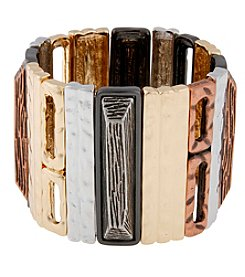 Erica Lyons® Tri Tone Trifecta Mixed Rectangles Stretch Bracelet
