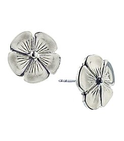 1928® Signature Silvertone Flower Earrings