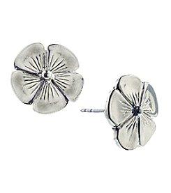 1928® Signature Silvertone Flower Earrings