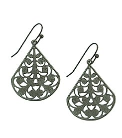 1928® Jewelry Jet Black Pear Shaped Filigree Drop Earrings