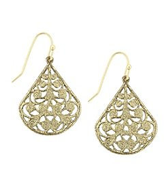 1928® Signature Goldtone Pear Shaped Filigree Drop Earrings
