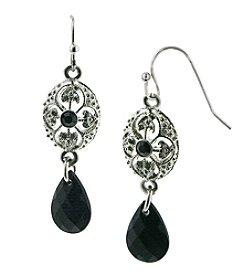 1928® Signature Silvertone Black Drop Earrings