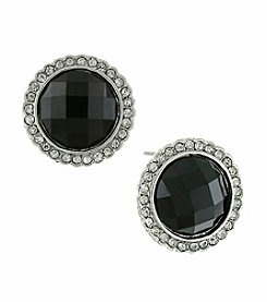 1928® Signature Silvertone Black and Crystal Round Button Earrings