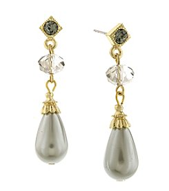1928® Signature Goldtone Grey Simulated Pearl with Black Diamond Drop Earrings